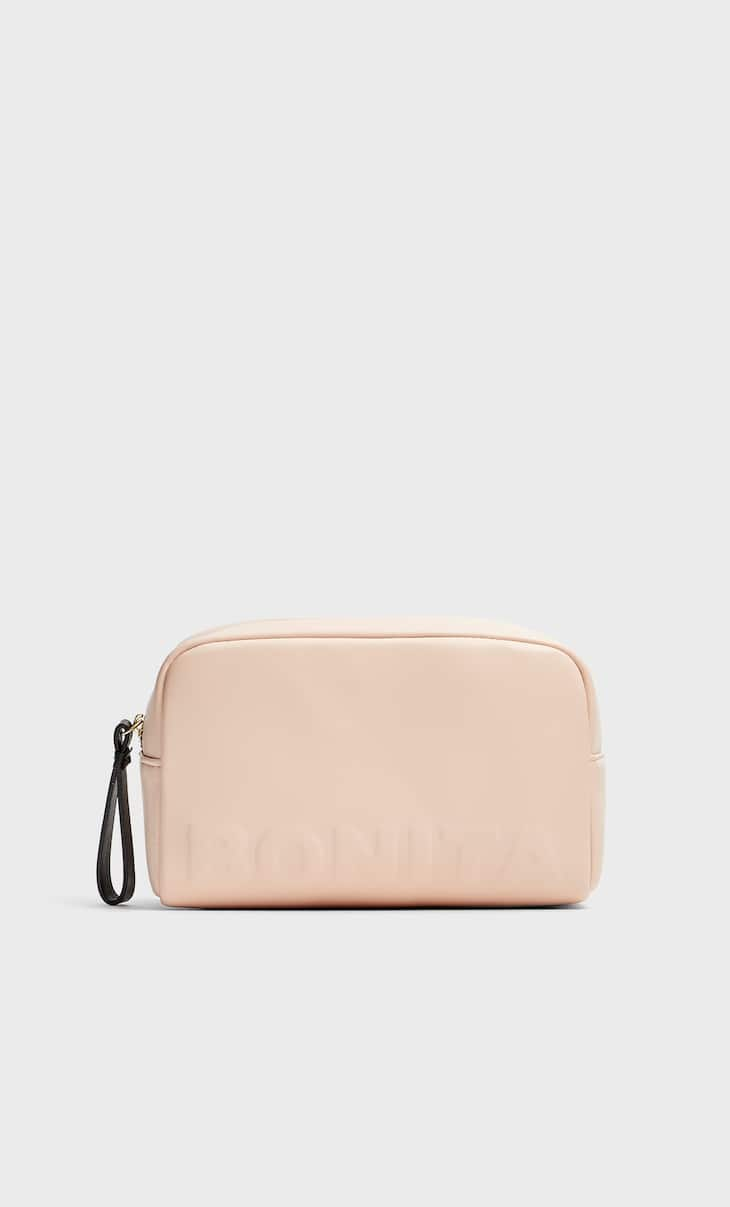 Faux leather toiletry bag