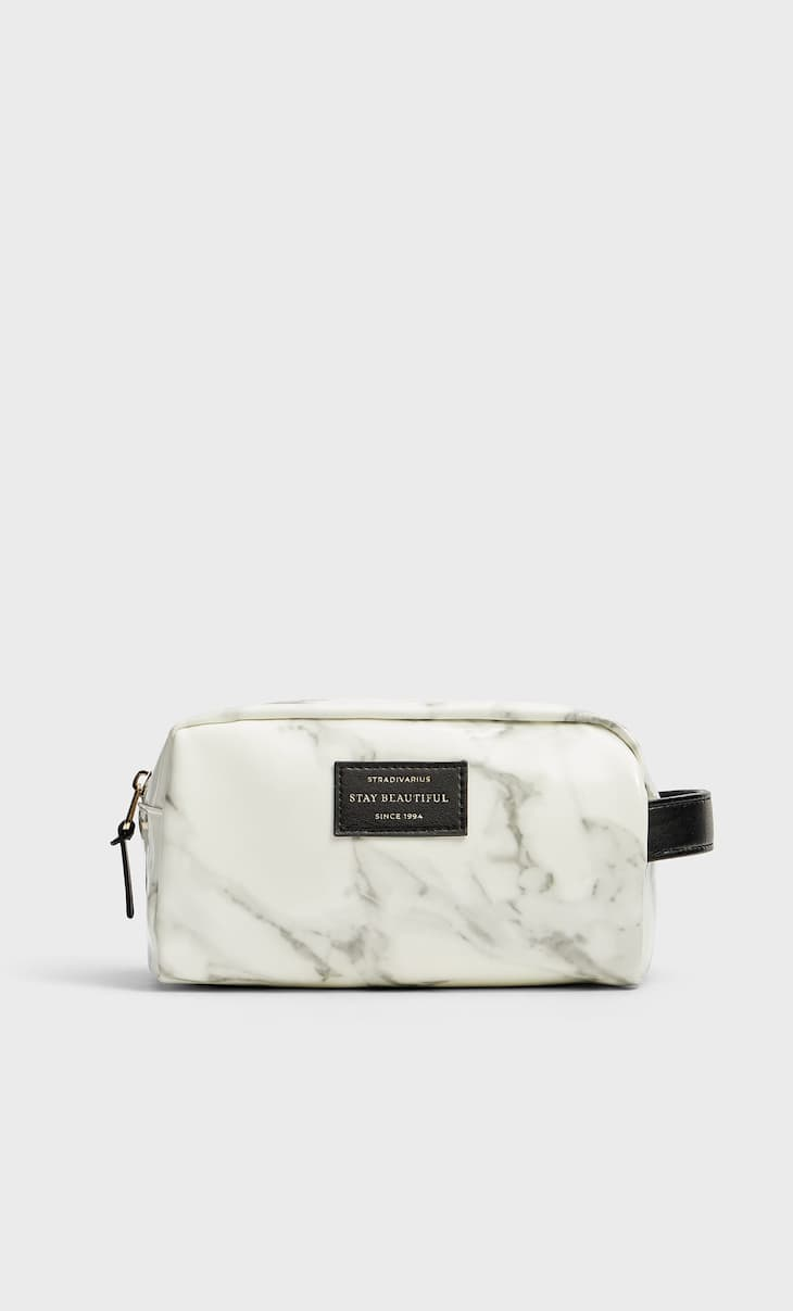 Faux patent finish marble toiletry bag