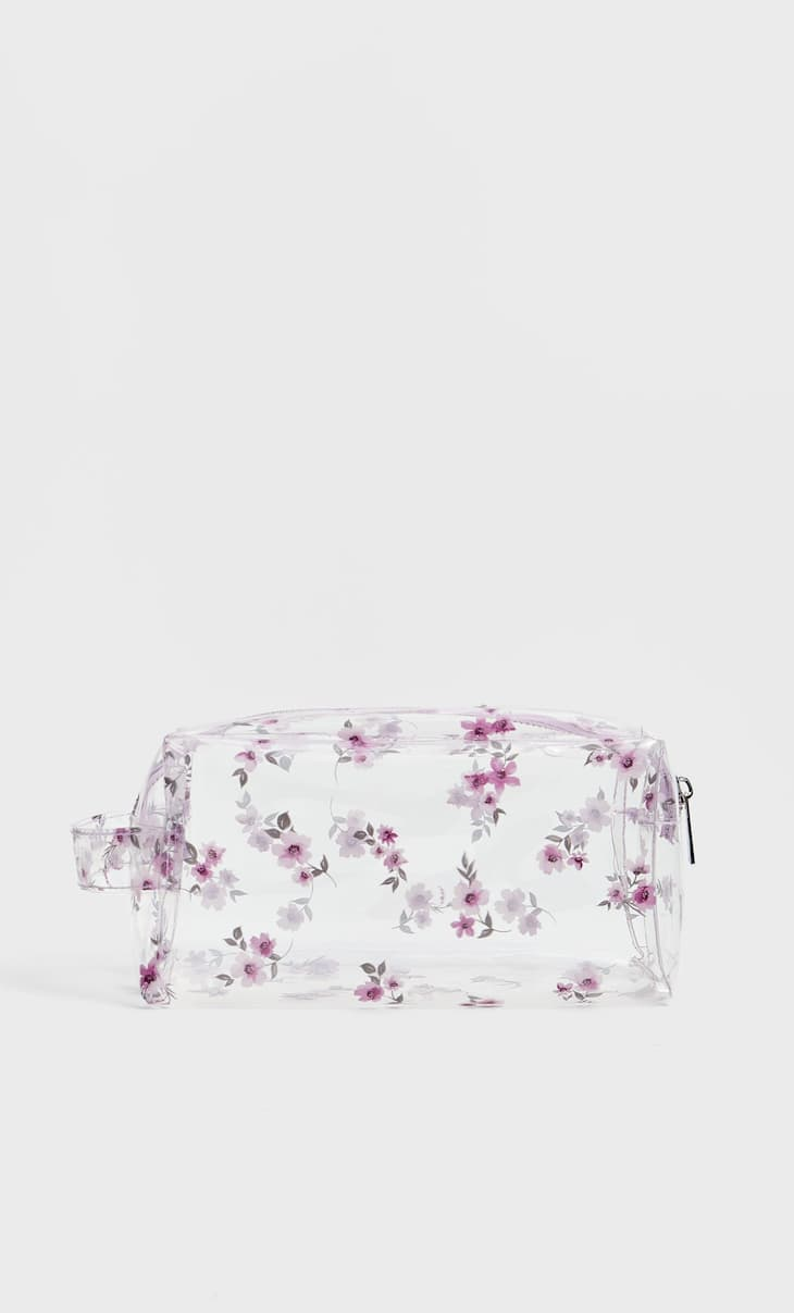 Clear floral print toiletry bag