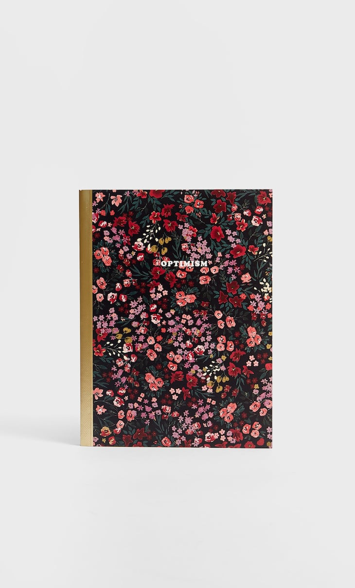 Red floral print notebook