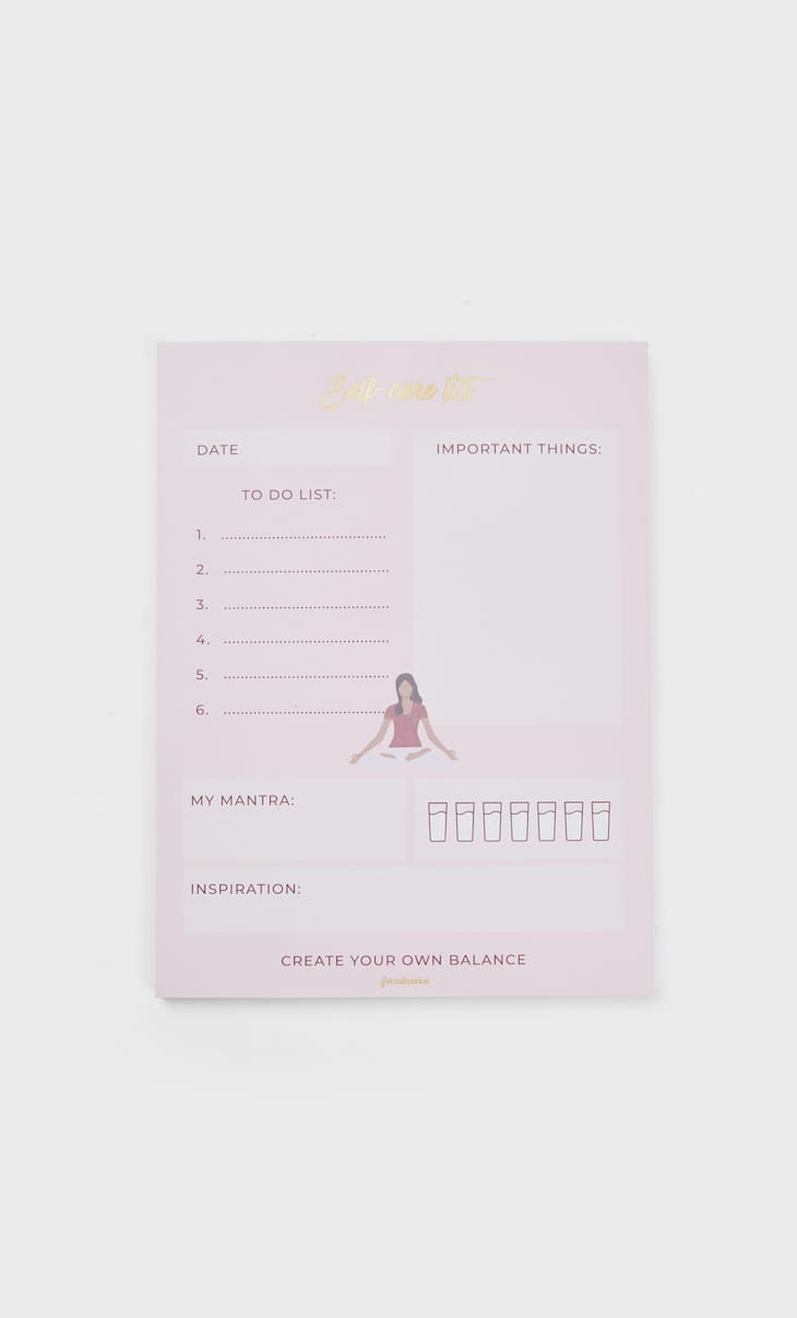 Self-care list pad