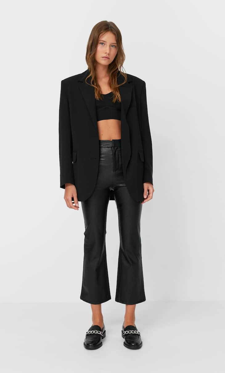 Faux leather cropped flare trousers