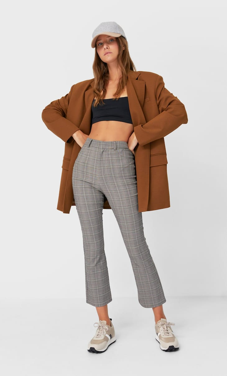 Pantalon cropped flare à carreaux