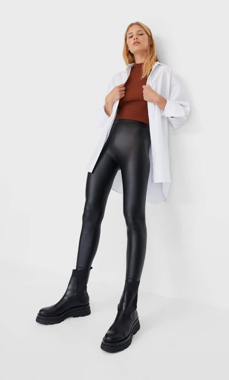 Leather-effect leggings