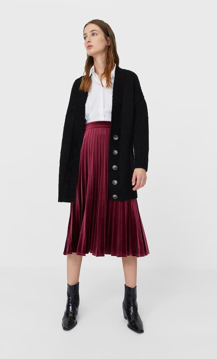 Velvet midi skirt