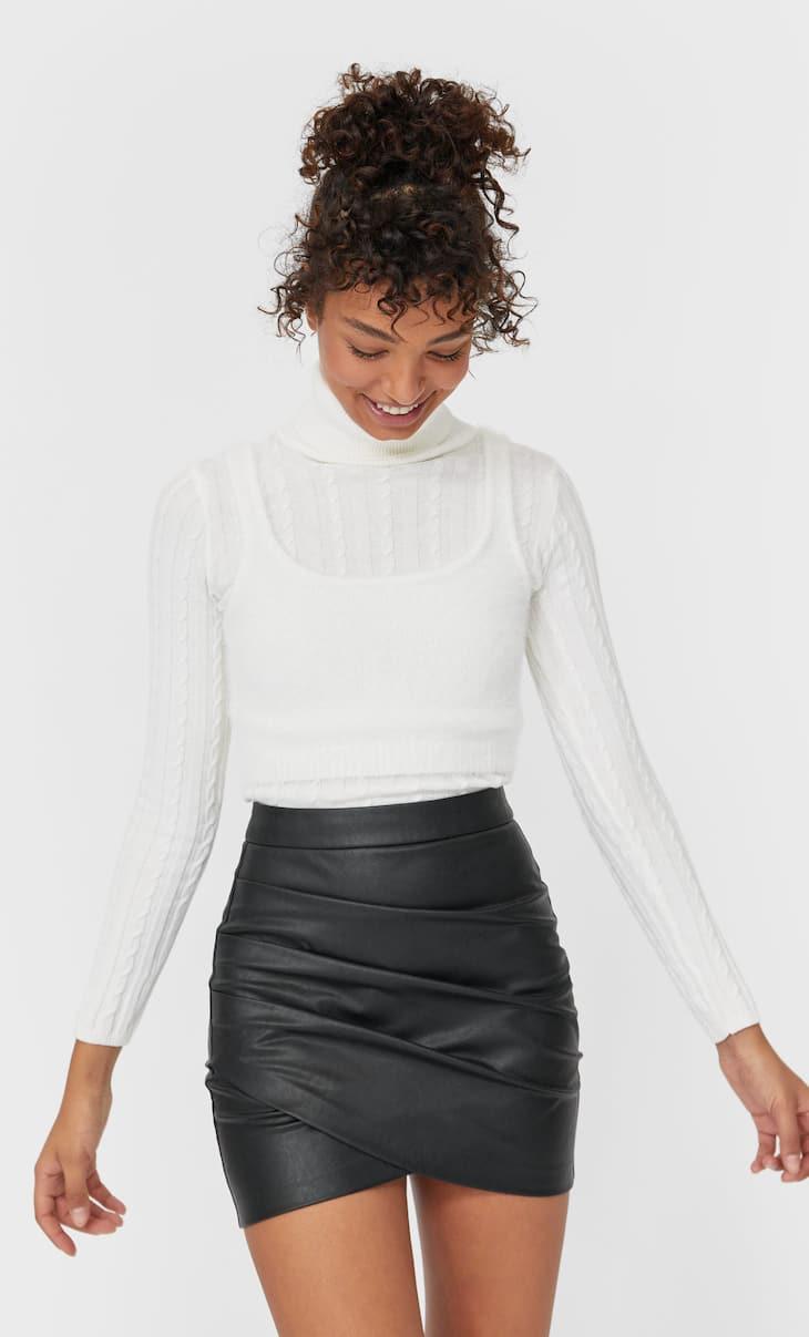 PU wrap skirt
