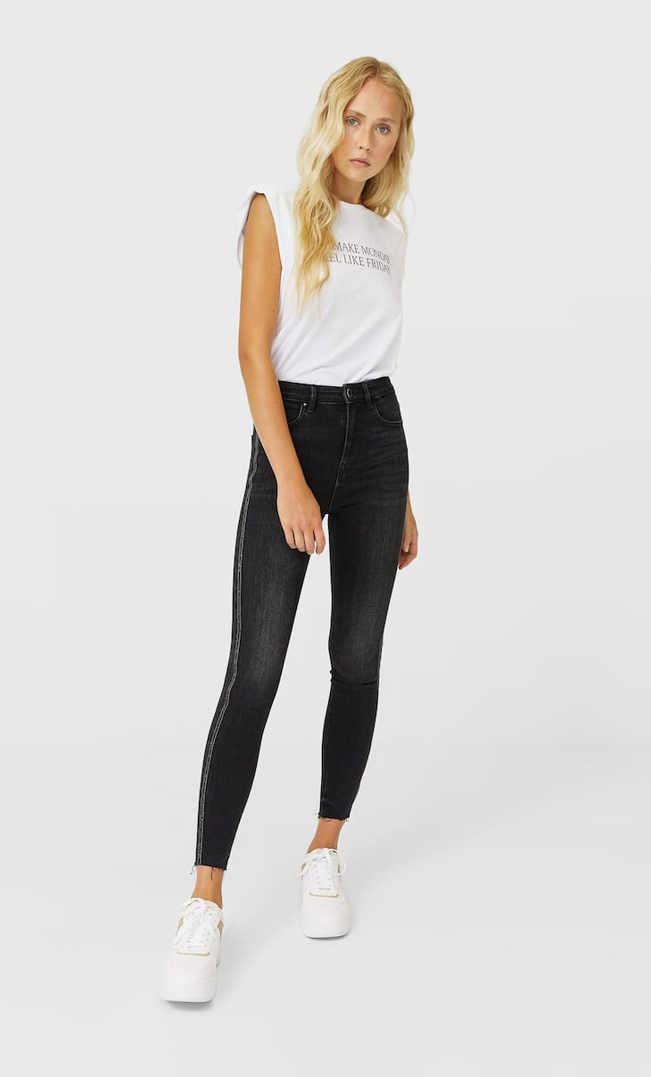 Jeans with side stripe