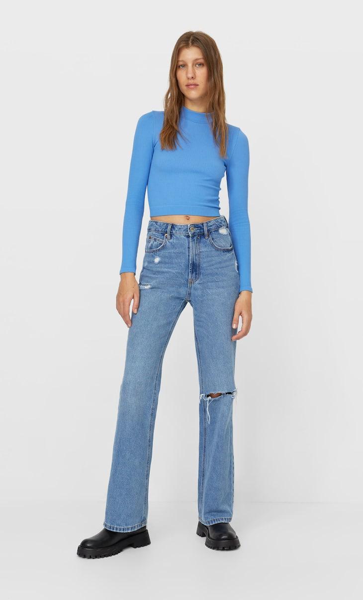 Vintage jeans met klokkende zoom
