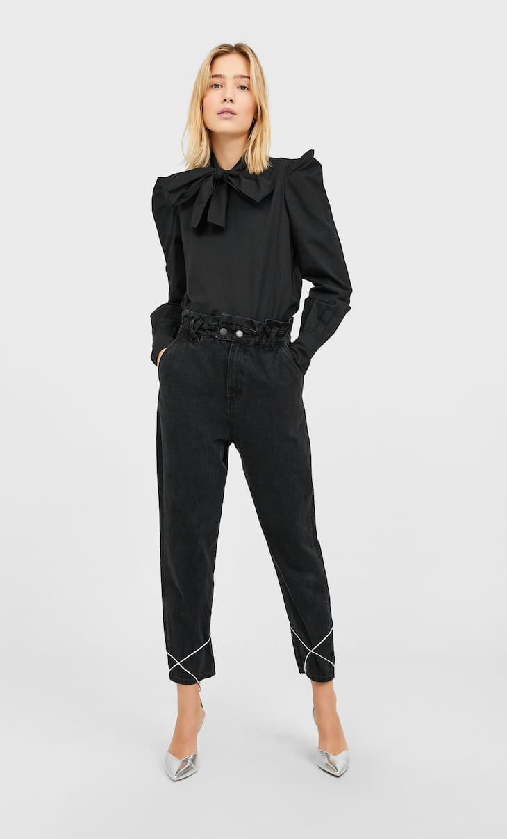 Baggy jeans with elastic trim