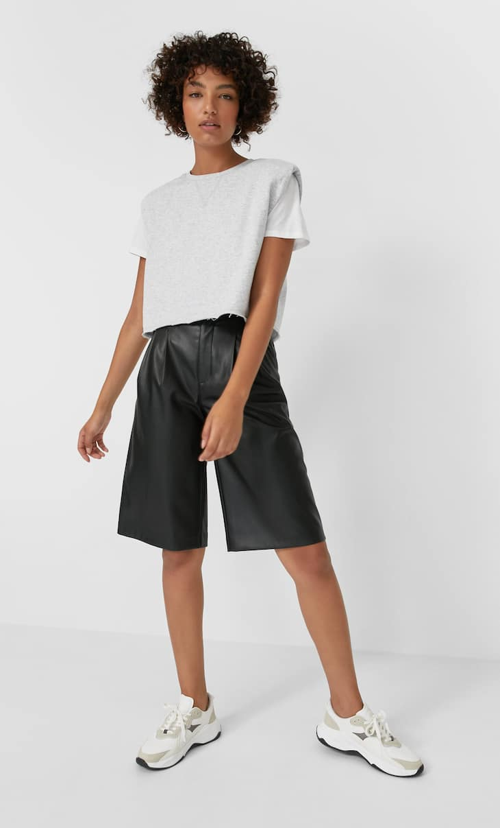 Faux leather darted Bermuda shorts