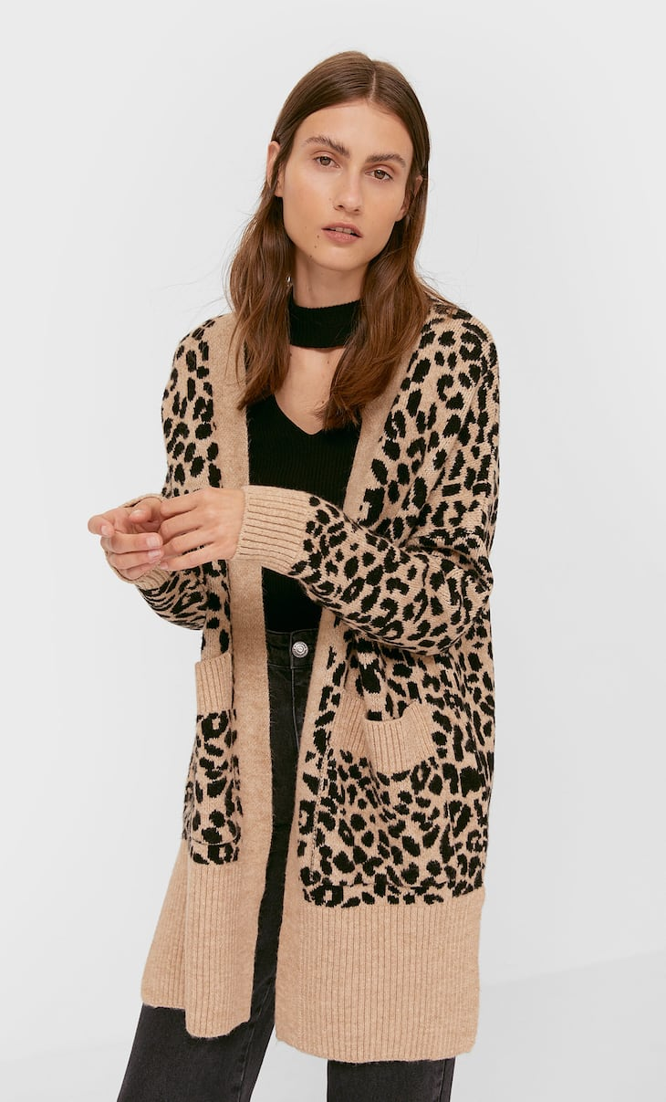 Long printed knit cardigan