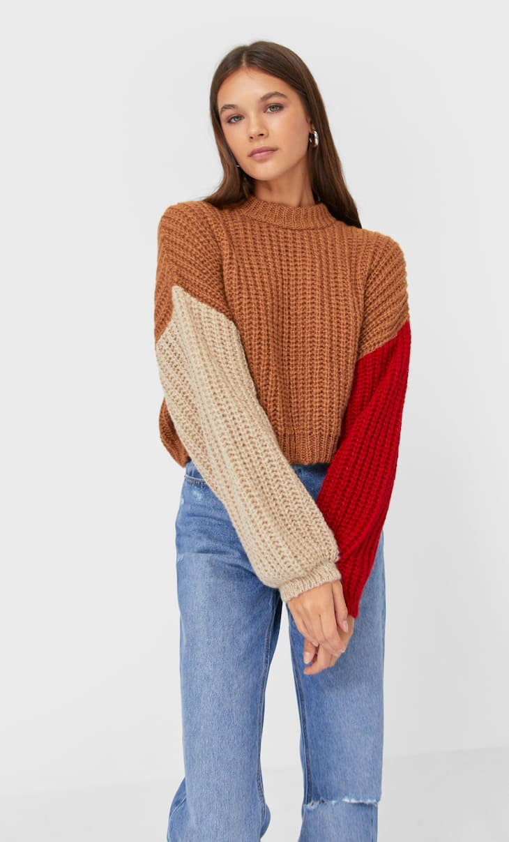 Cropped colour block sweater