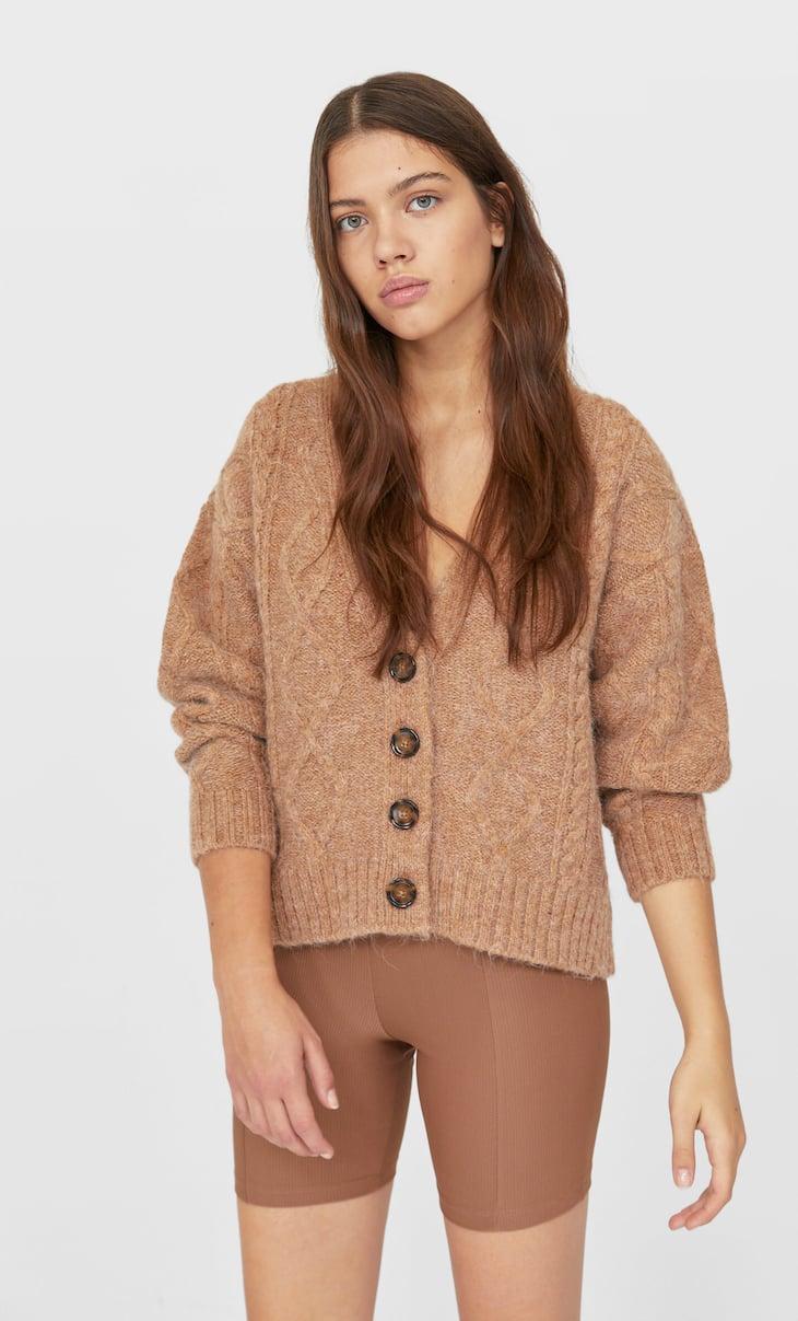 Džemper kardigan sa pletenicama