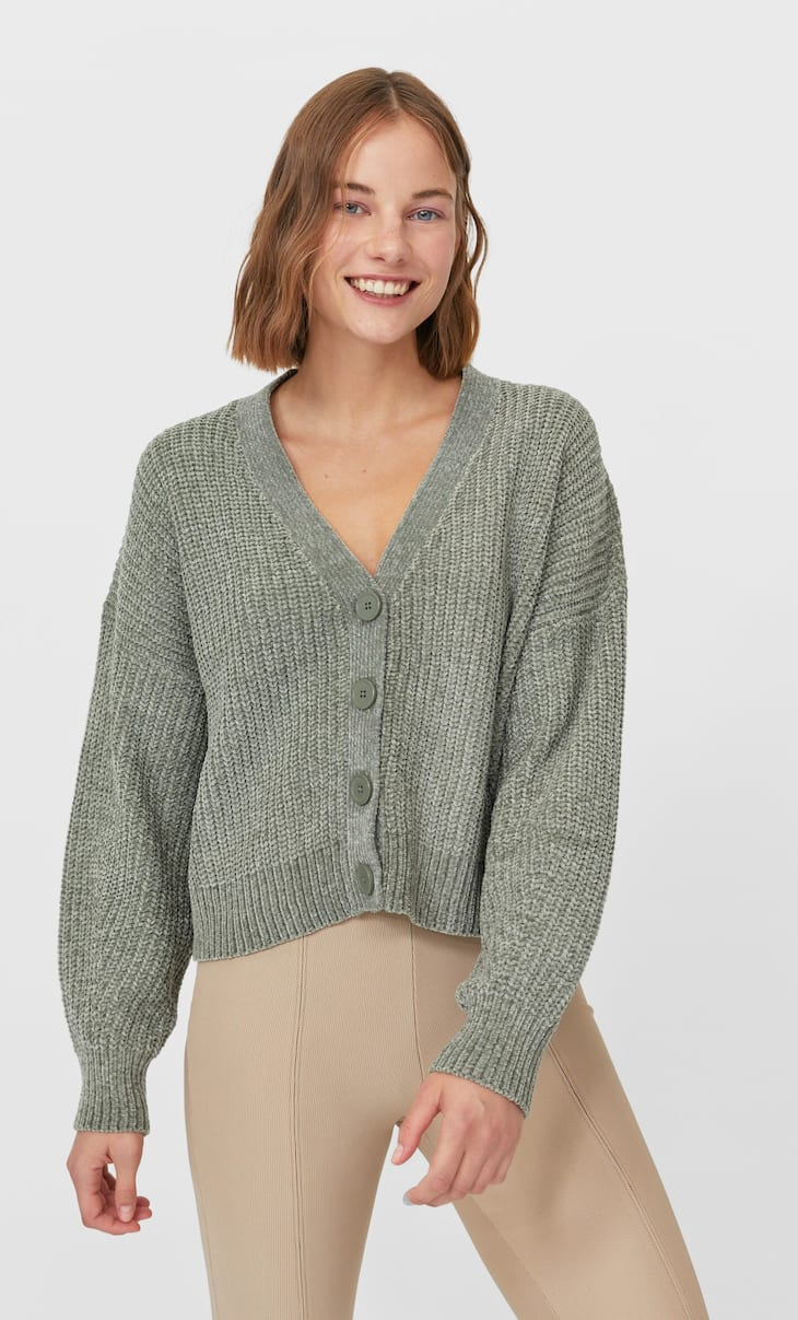 Chenille knit cardigan