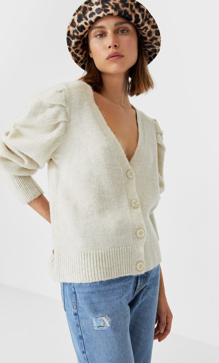 Cardigan with balloon sleeves