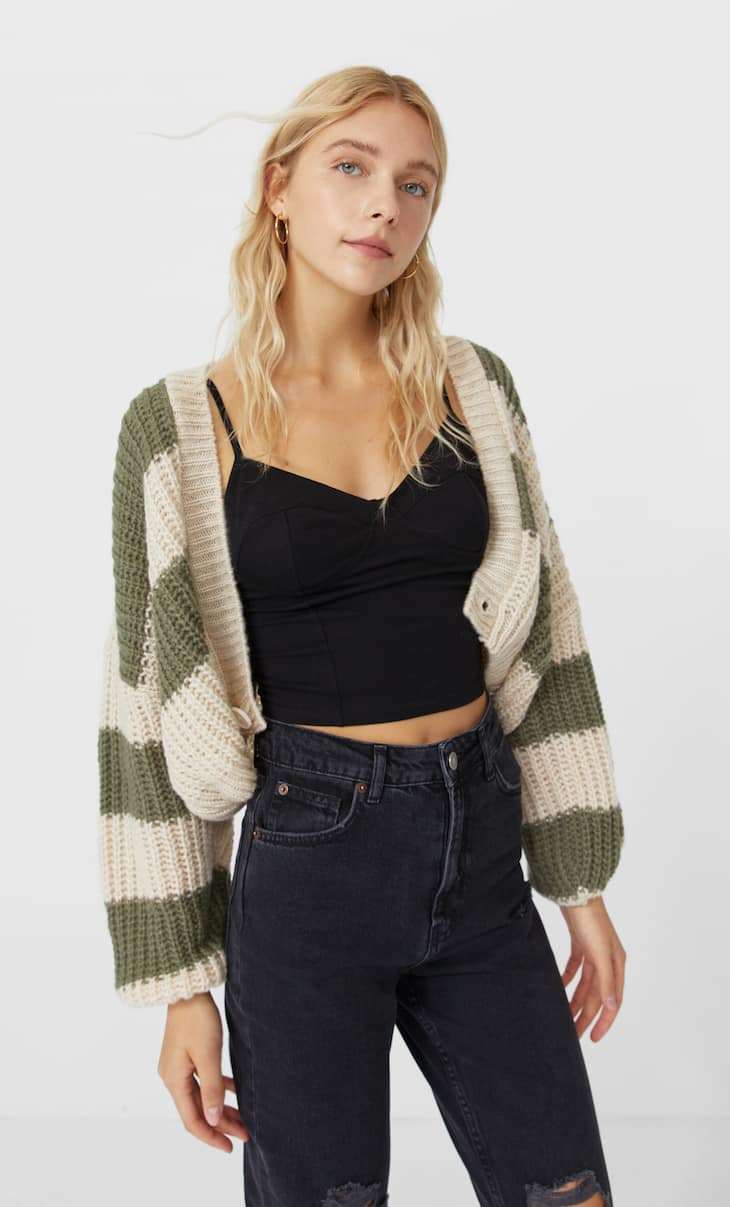 Cropped striped cardigan