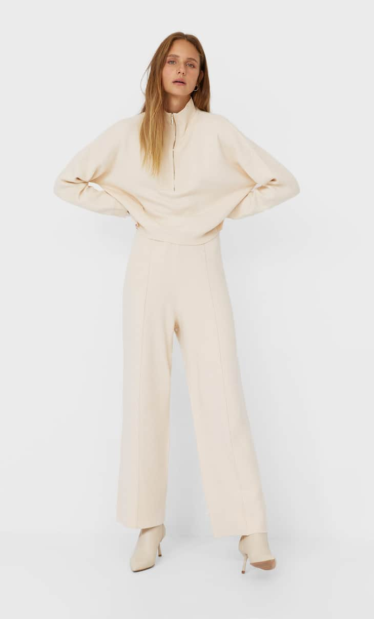 Straight fit knit trousers