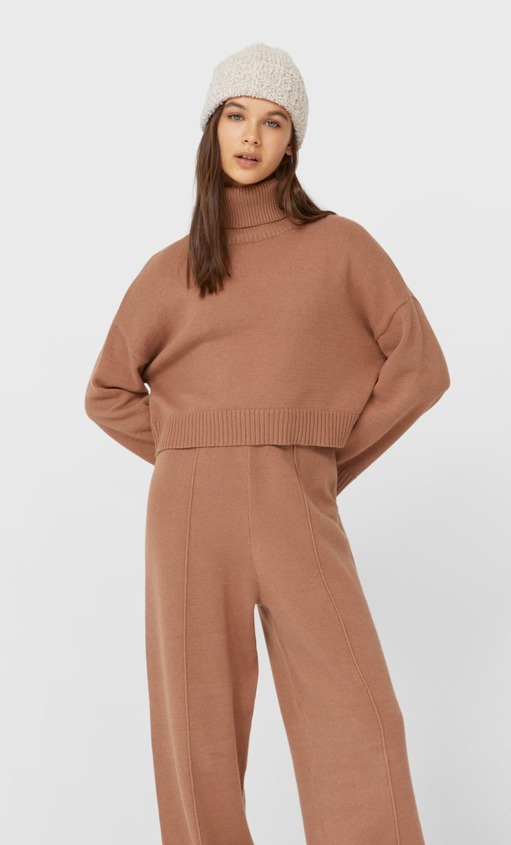 Cropped high neck sweater