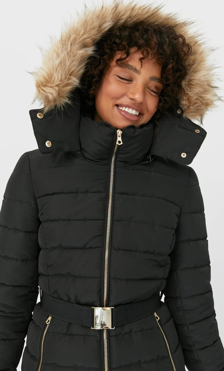 Padded coat with a hood