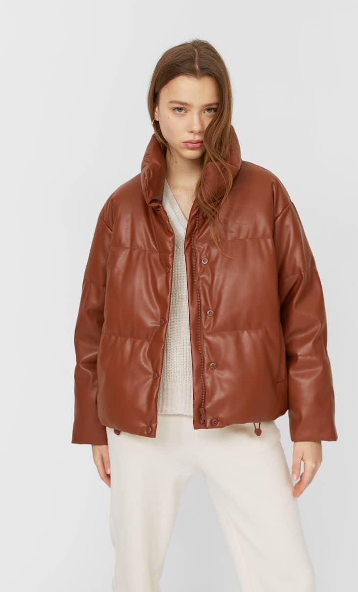 Стеганая куртка из искусственной кожи