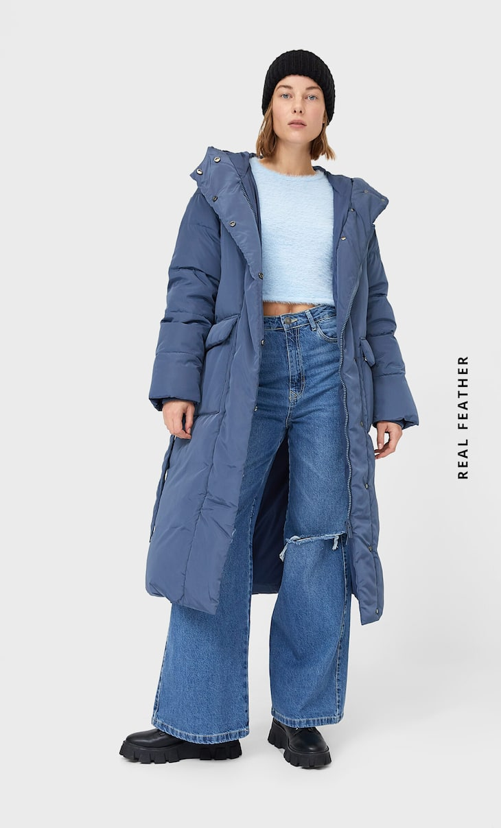 Down puffer coat with belt