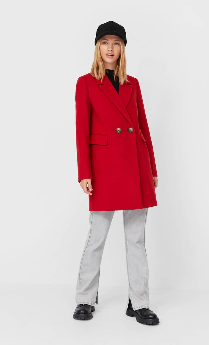 Basic wool blend coat