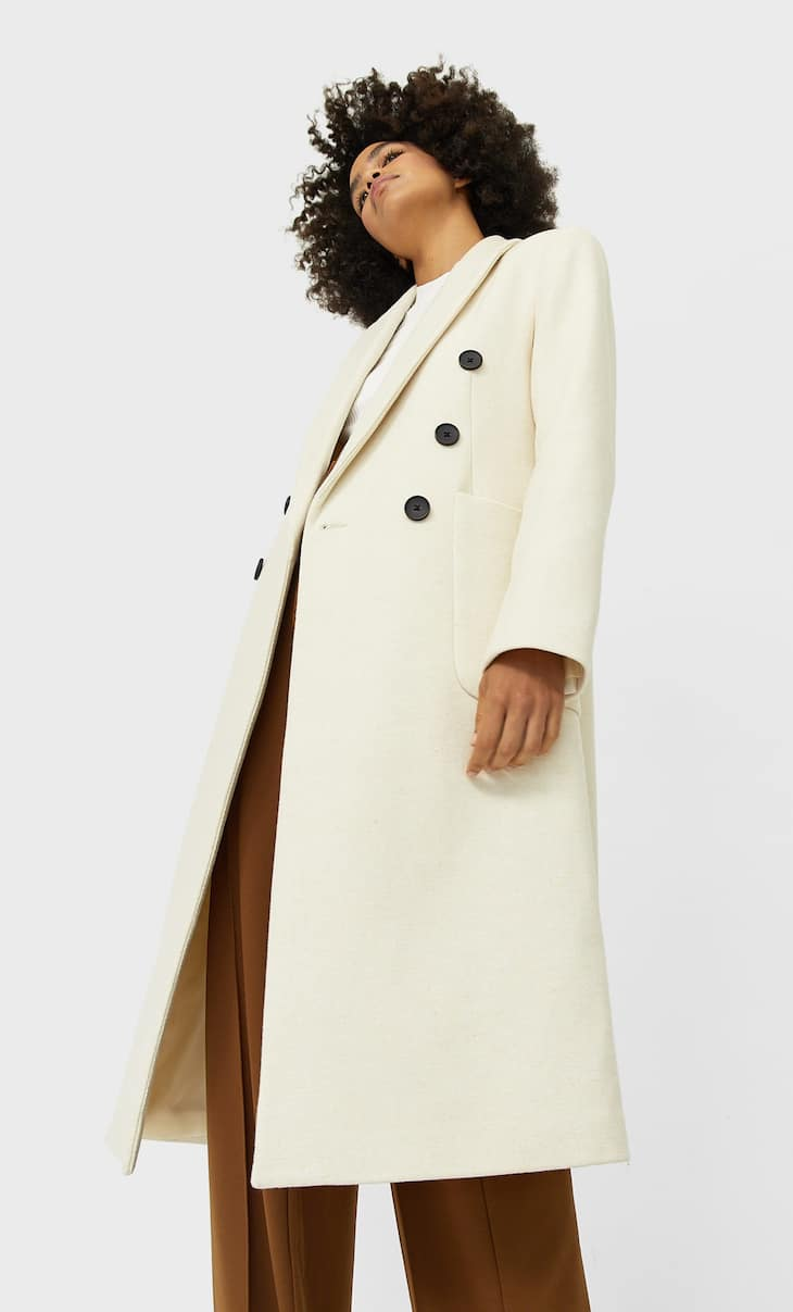 Long synthetic wool coat