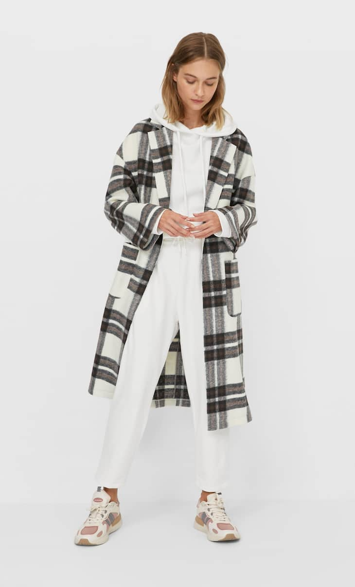 Checked knit open coat