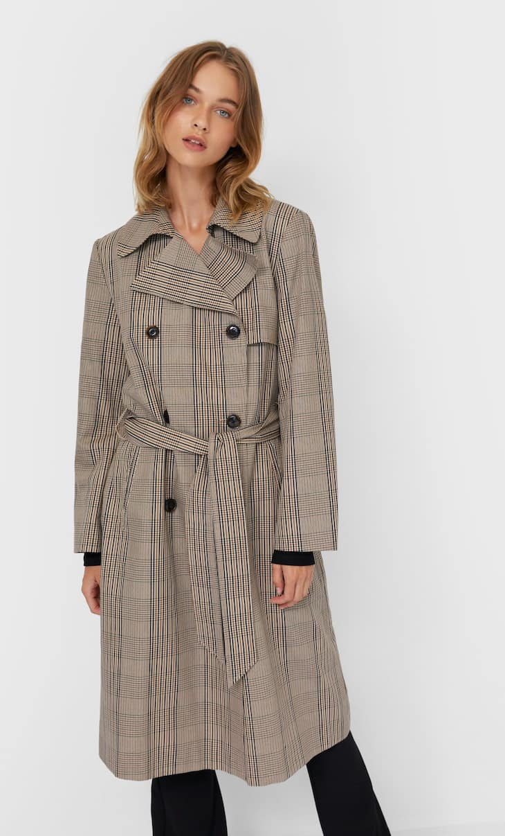Long check print trench coat