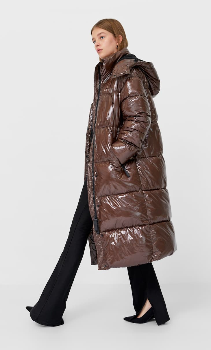 Shiny puffer coat