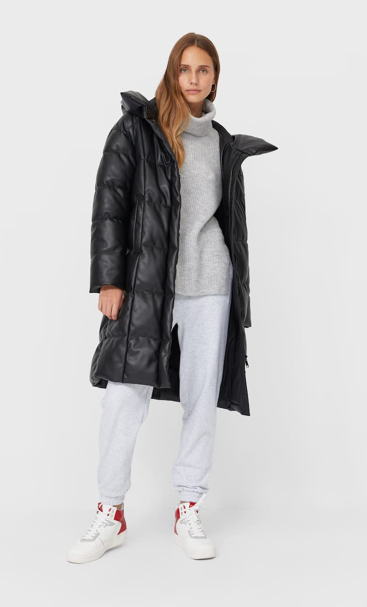 Faux leather puffer coat