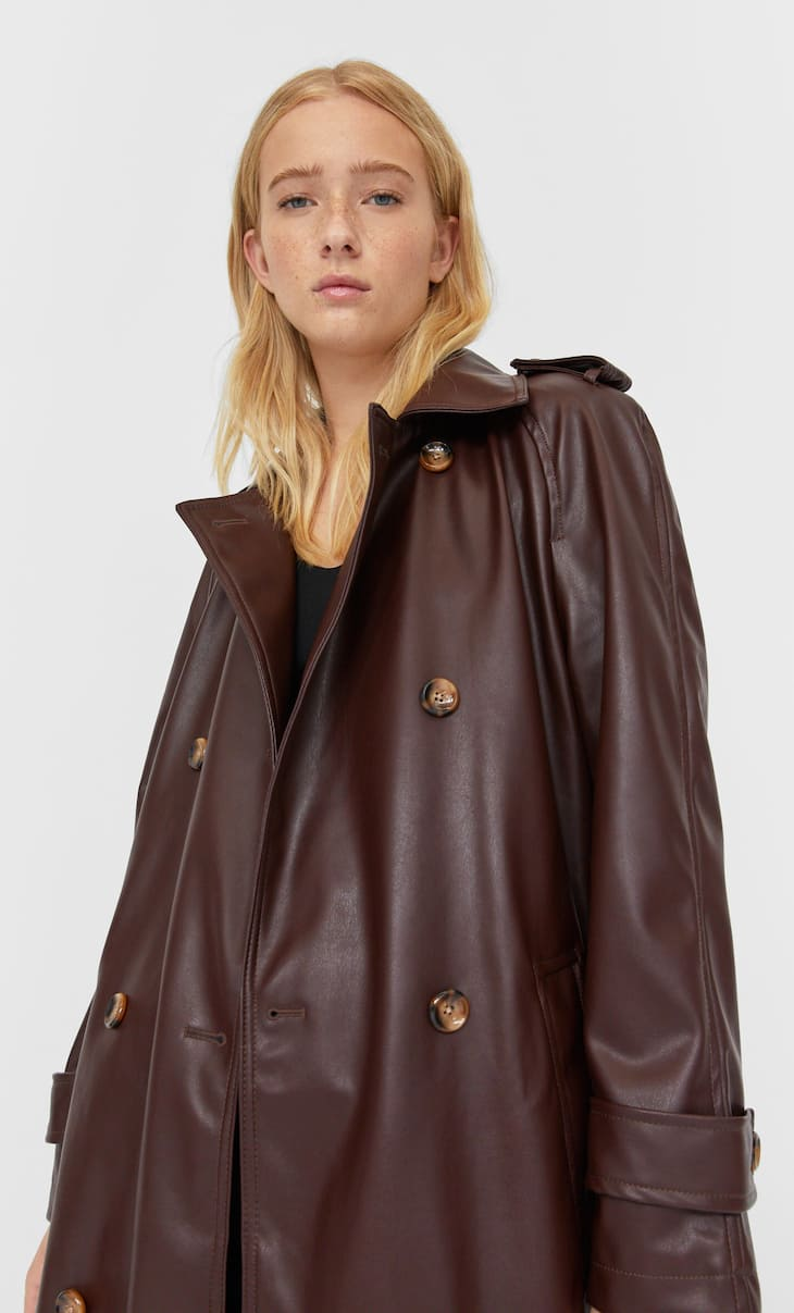 Long faux leather trench coat