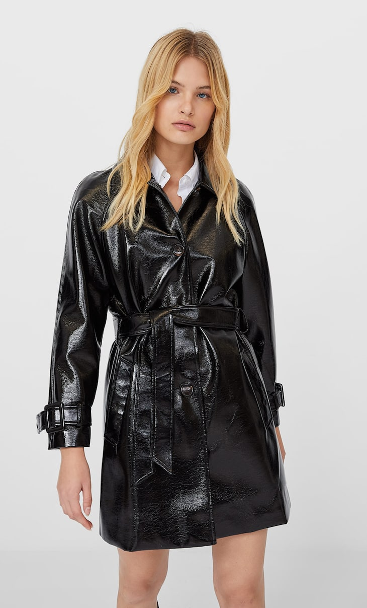 Faux-patent-finish trench coat