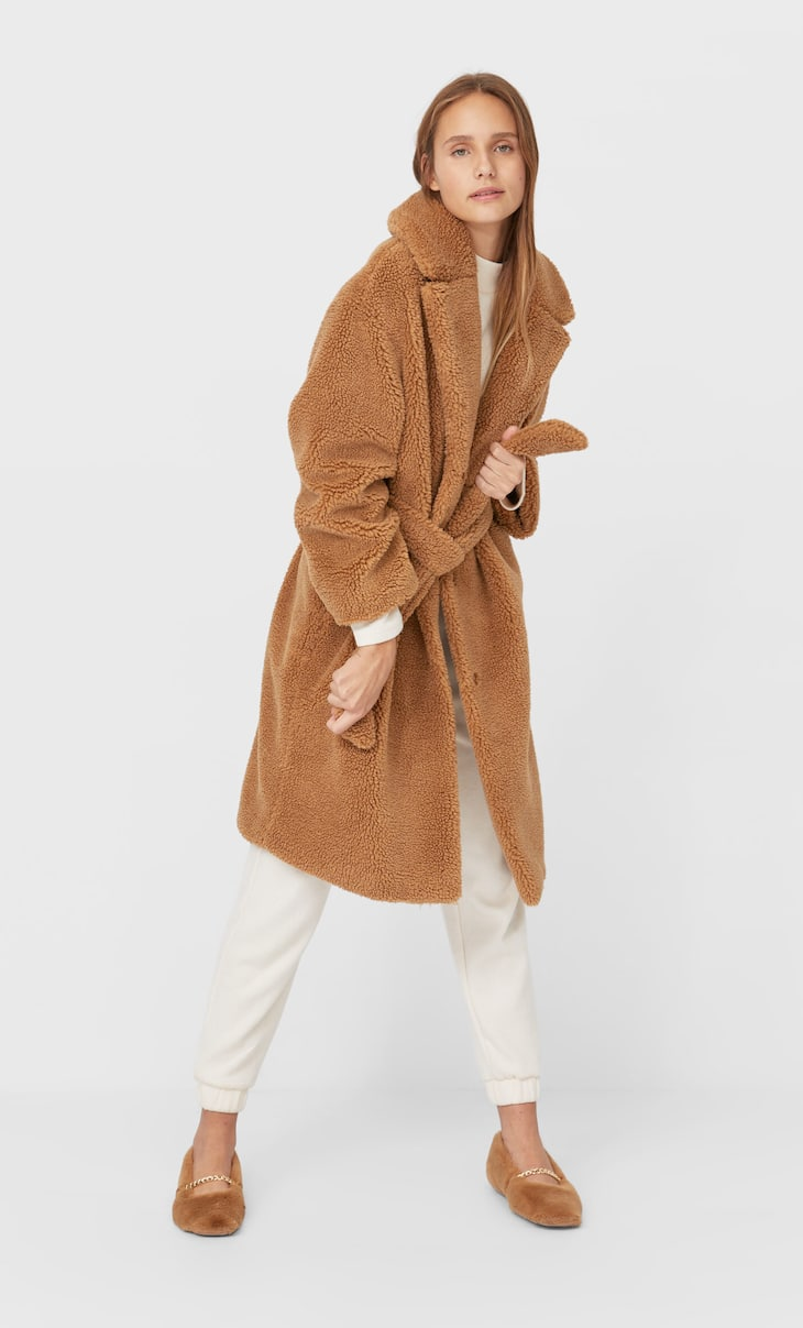 Faux shearling coat with belt