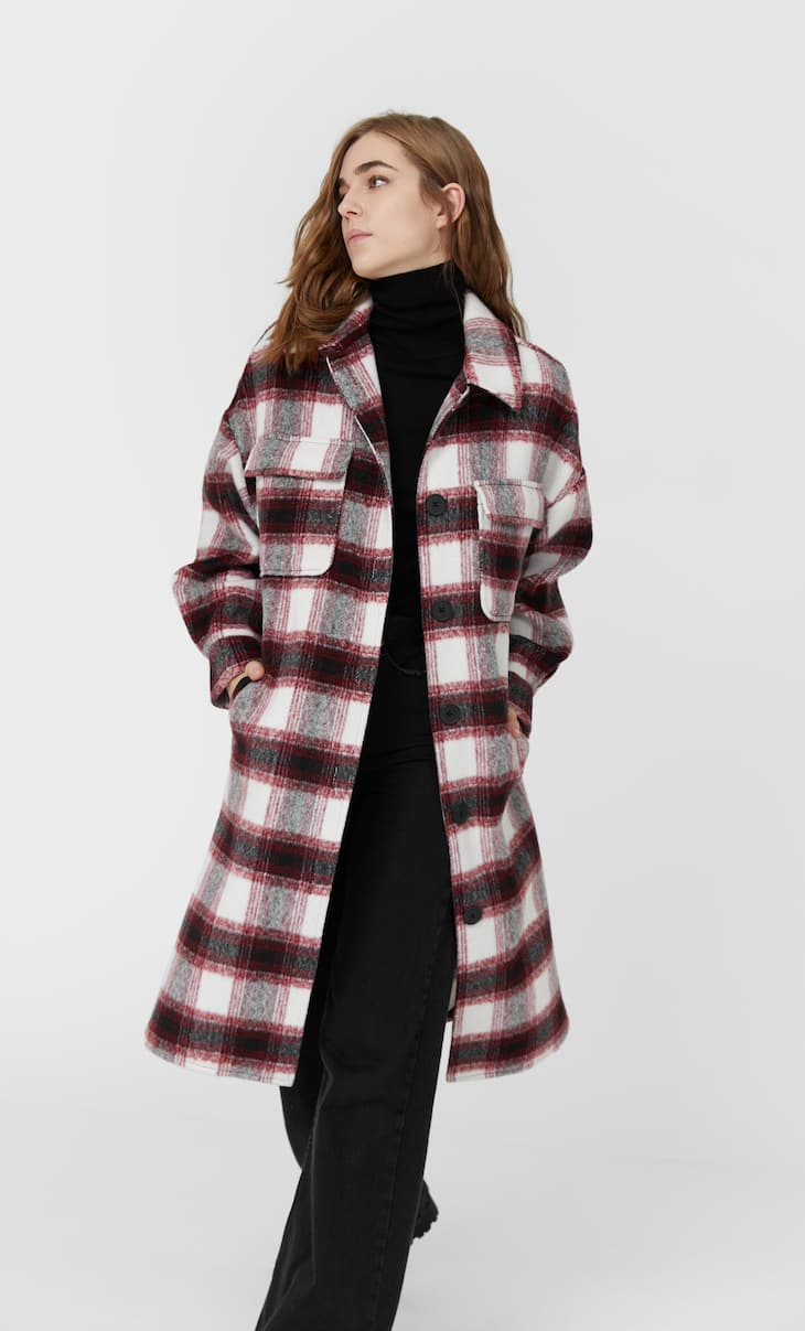 Long check overshirt