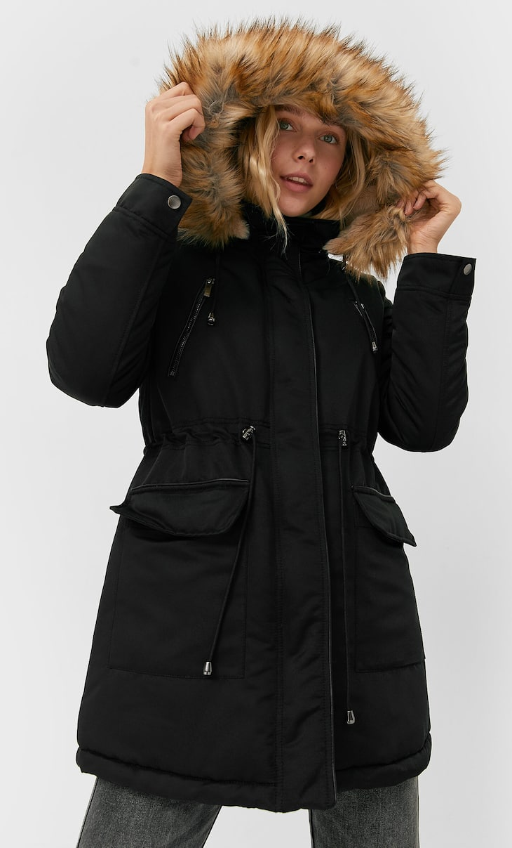 Parka with soft-touch faux fur hood trim