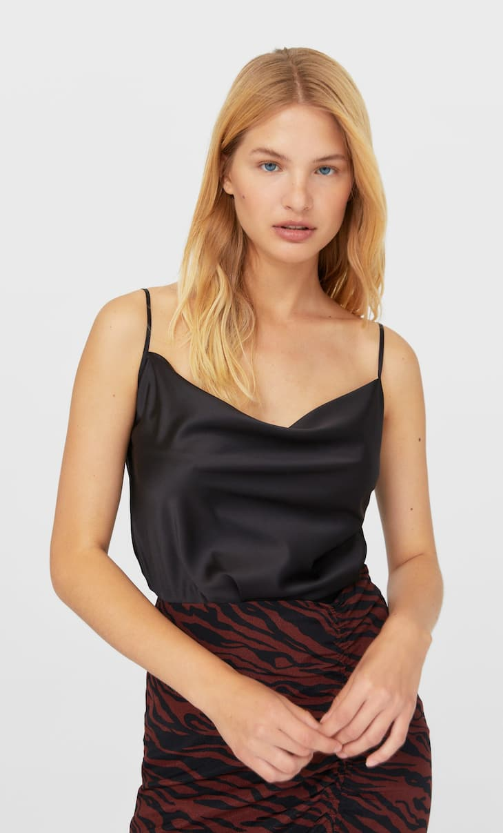 Strappy satin top
