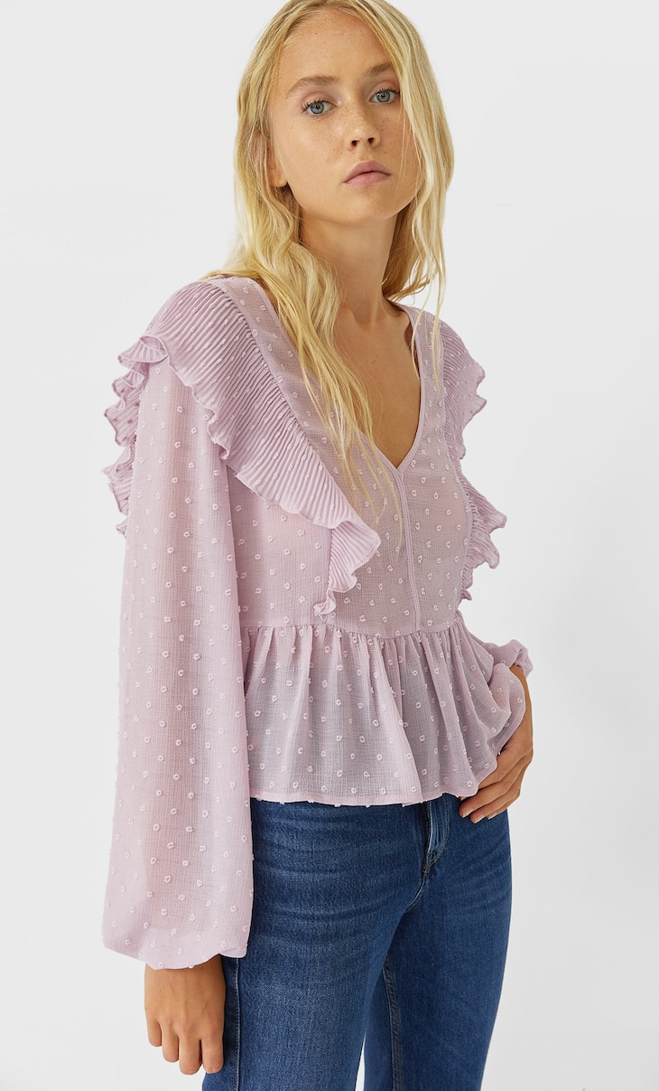 Plumetis blouse with ruffles