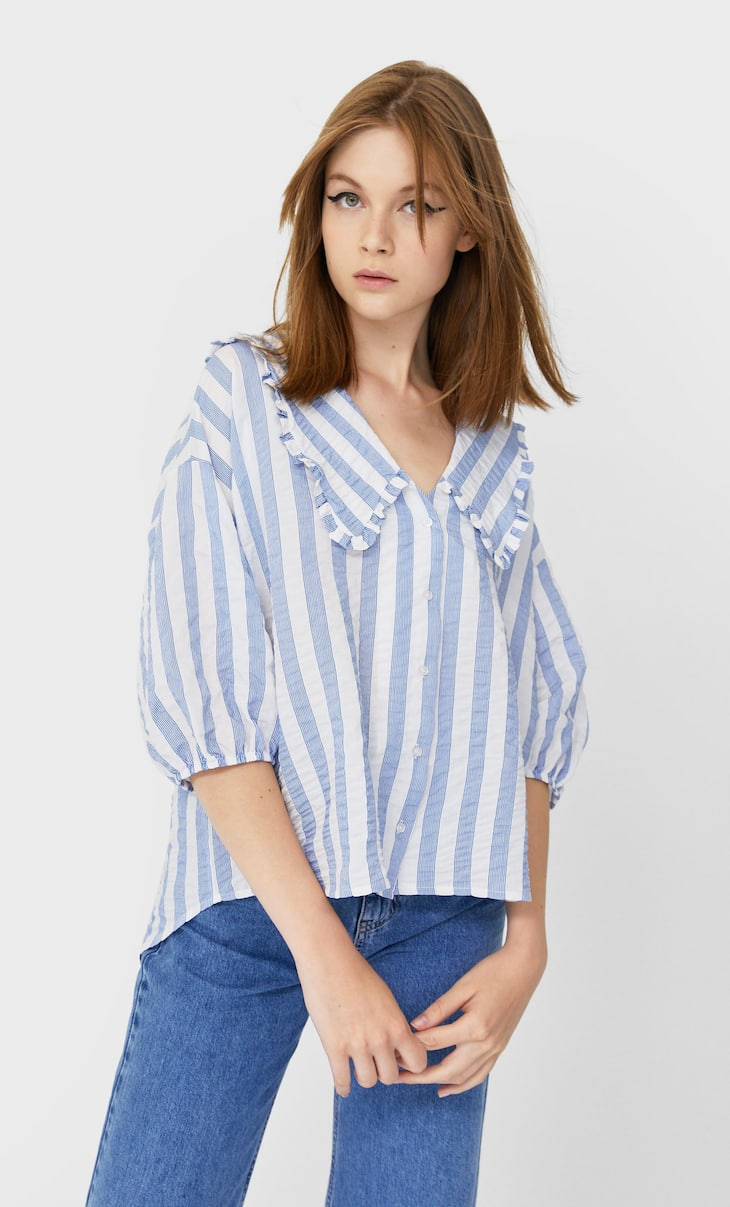 Oversized shirt with a Peter Pan collar