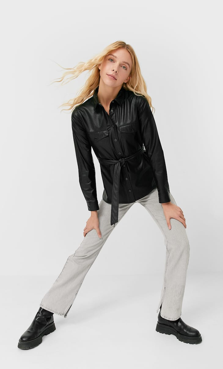 Faux leather shirt with belt