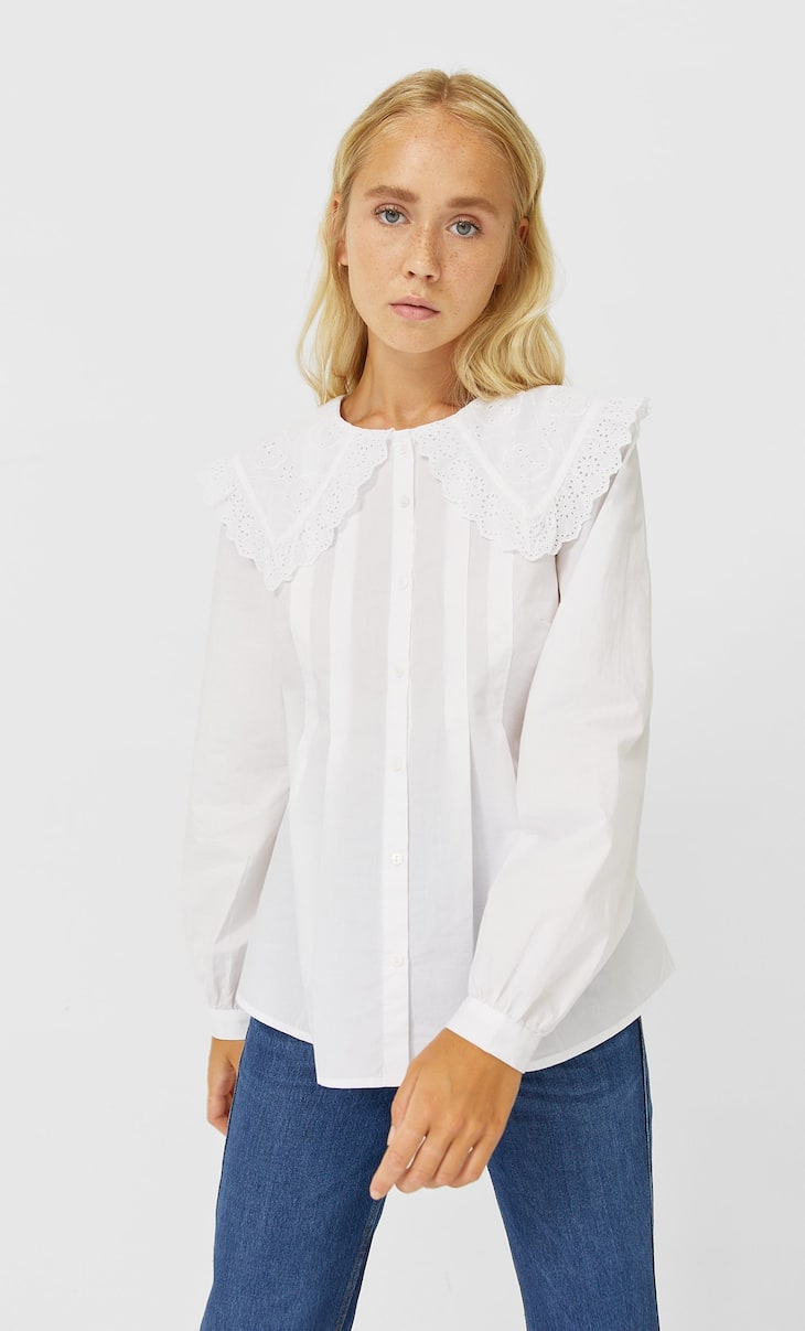 Poplin shirt with collar detail