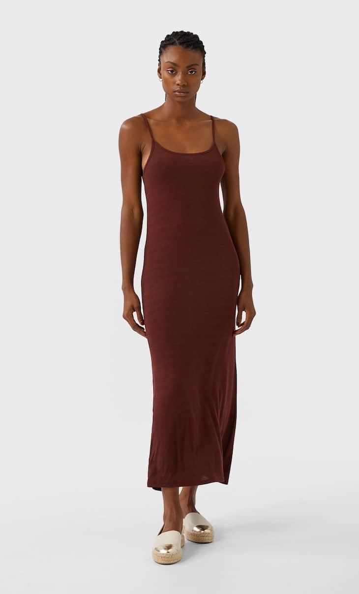 שמלה באורך midi עם צווארון קולר