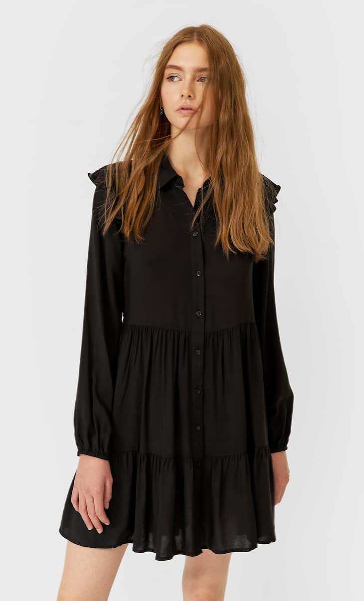 Volanlı gömlek elbise