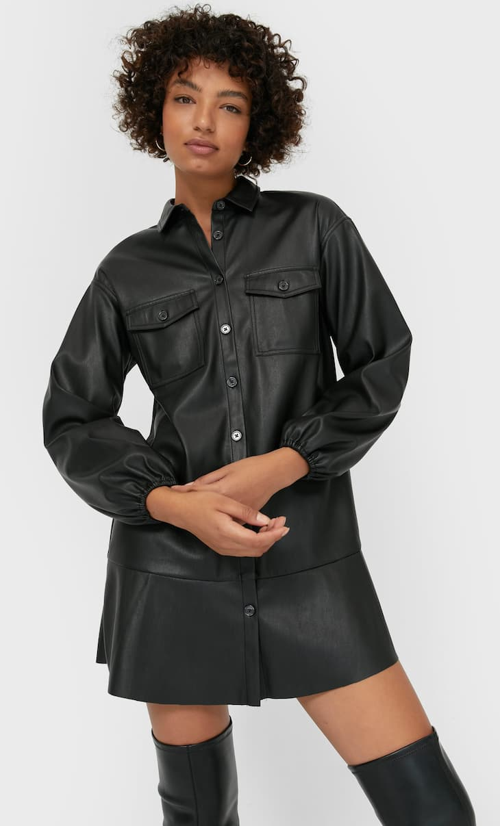 Faux leather shirt dress