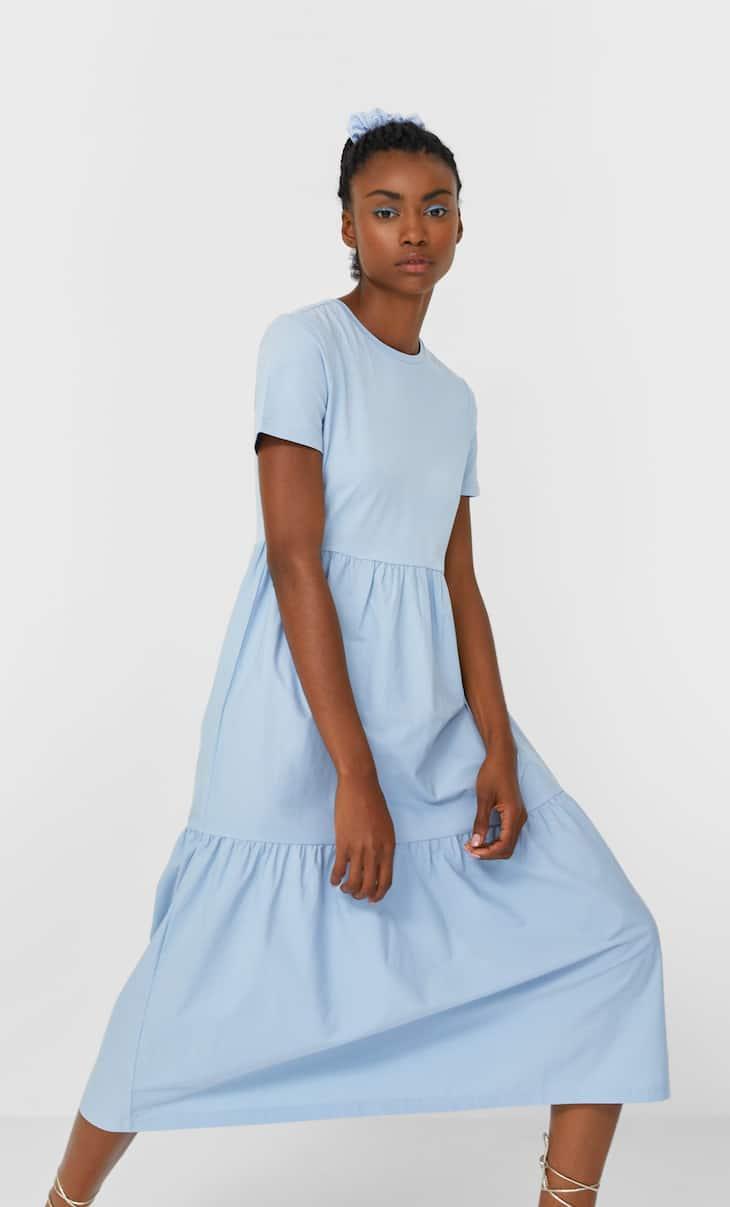Kontrast çift malzemeli elbise