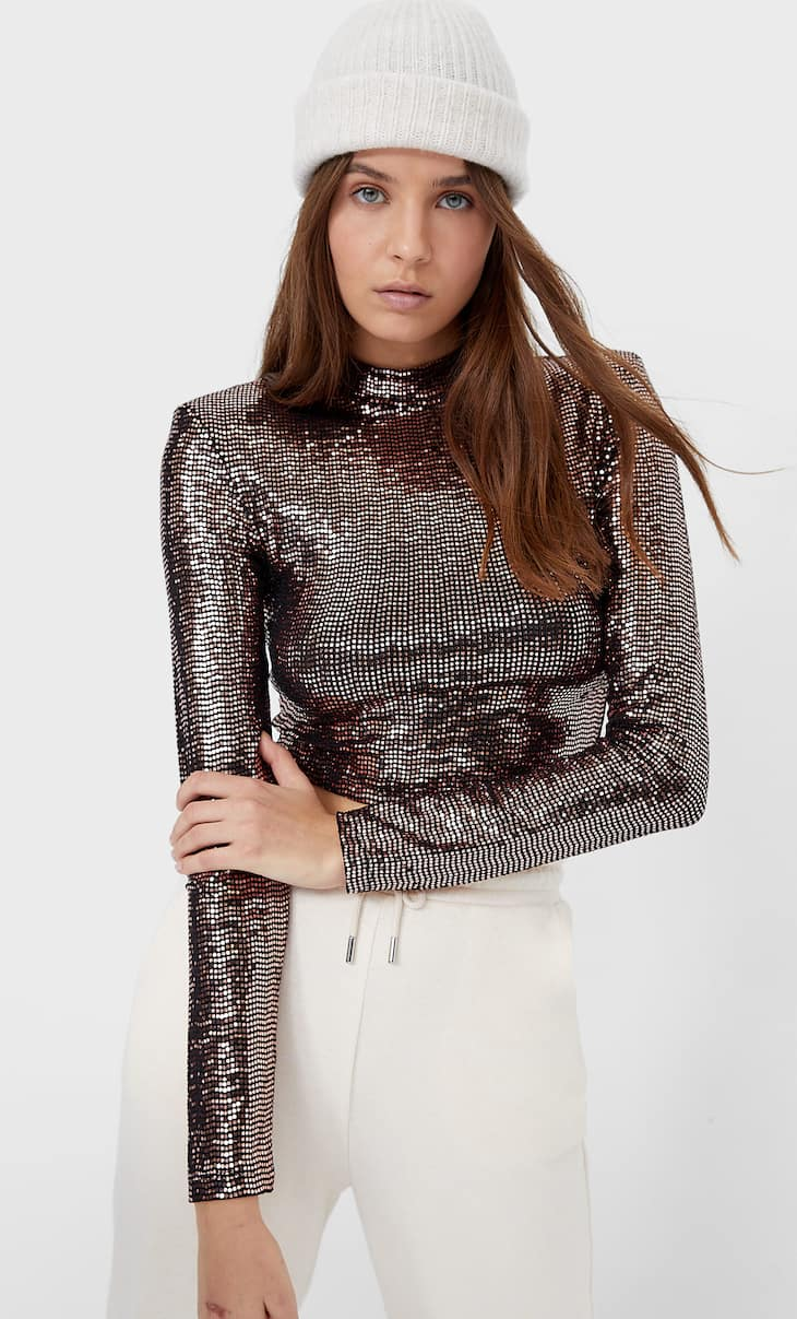 Sequin top with shoulder pads