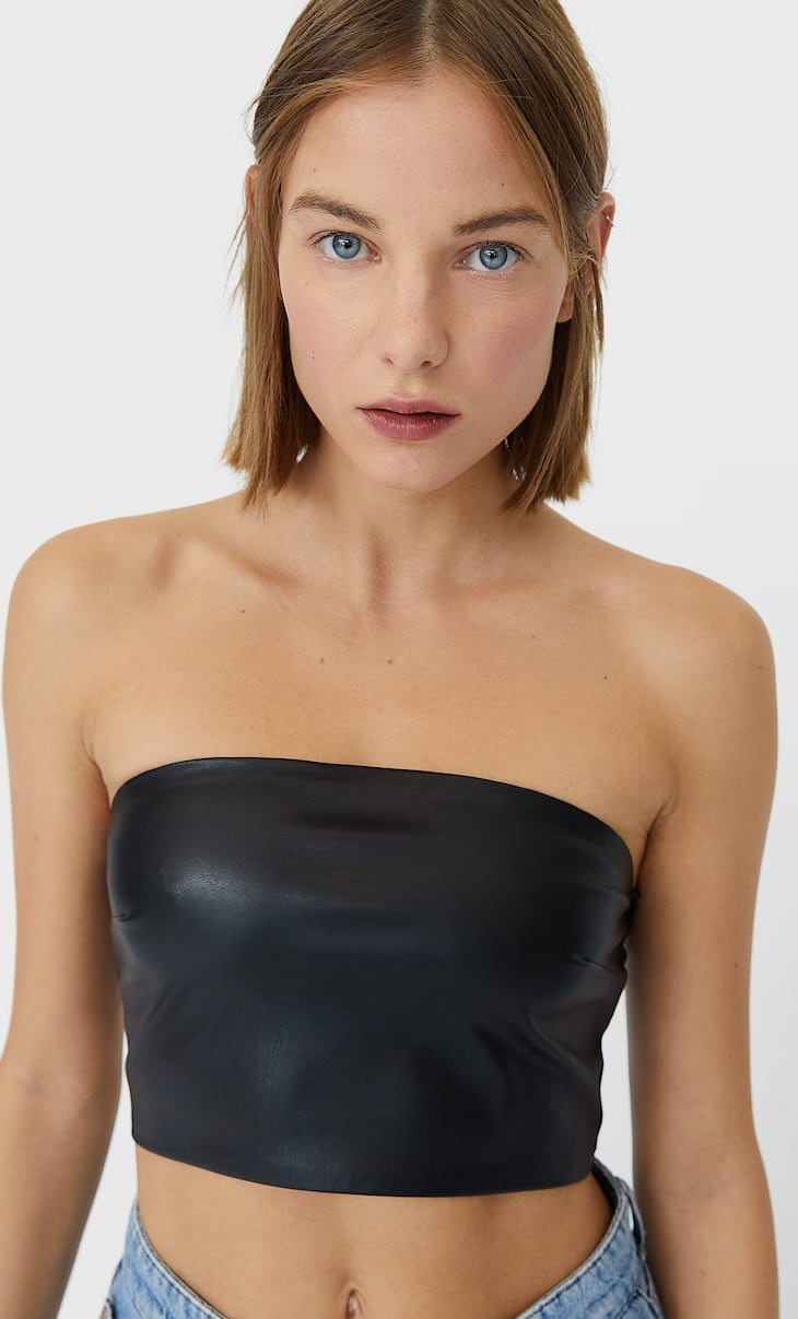 Faux leather bandeau top