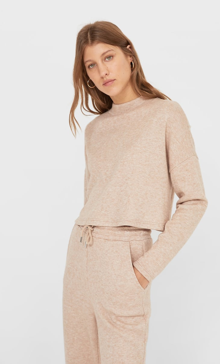 High-neck cropped sweater