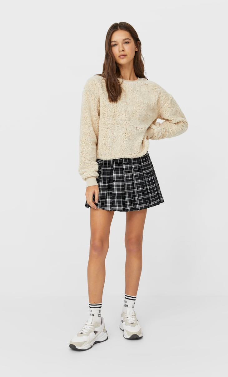 Cropped faux shearling sweatshirt