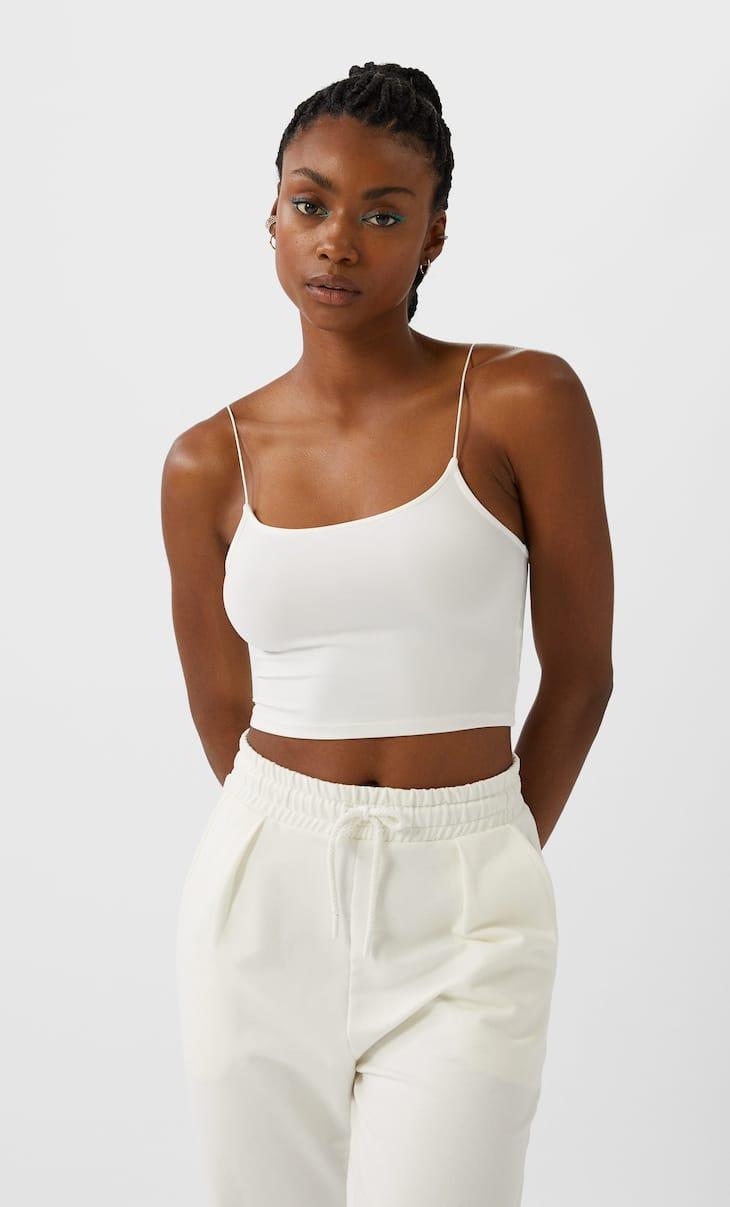Κοντή μπλούζα ελαστική με τιράντες